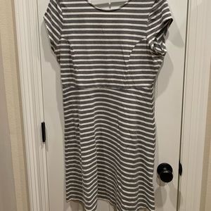 Grey stripe casual cotton dress from Old Navy